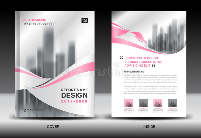Annual report brochure flyer template, Pink cover design. Business advertisement, magazine ads, catalog vector layout in A4 size stock illustration