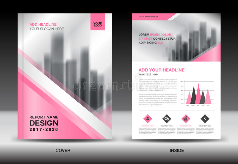 Annual report brochure flyer template, Pink cover design. Business advertisement, magazine ads, catalog vector layout in A4 size vector illustration