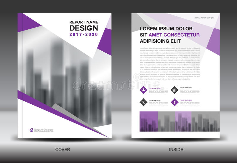 Annual report brochure flyer template, Purple cover design royalty free illustration