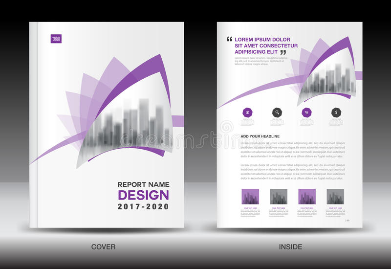 Annual report brochure flyer template, Purple cover design. Business flyer template, book, booklet, newspaper, catalog, advertisement royalty free illustration
