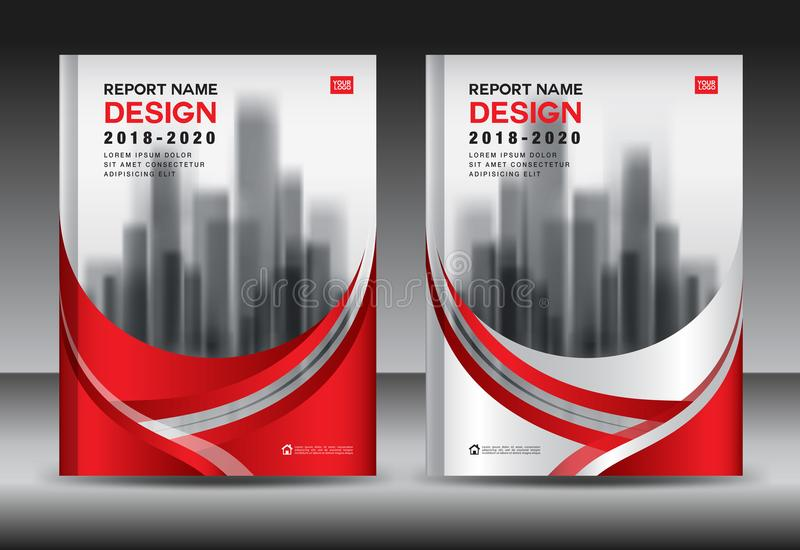 Annual report brochure flyer template, red cover design, business advertisement, magazine ads, catalog vector layout in A4 size vector illustration