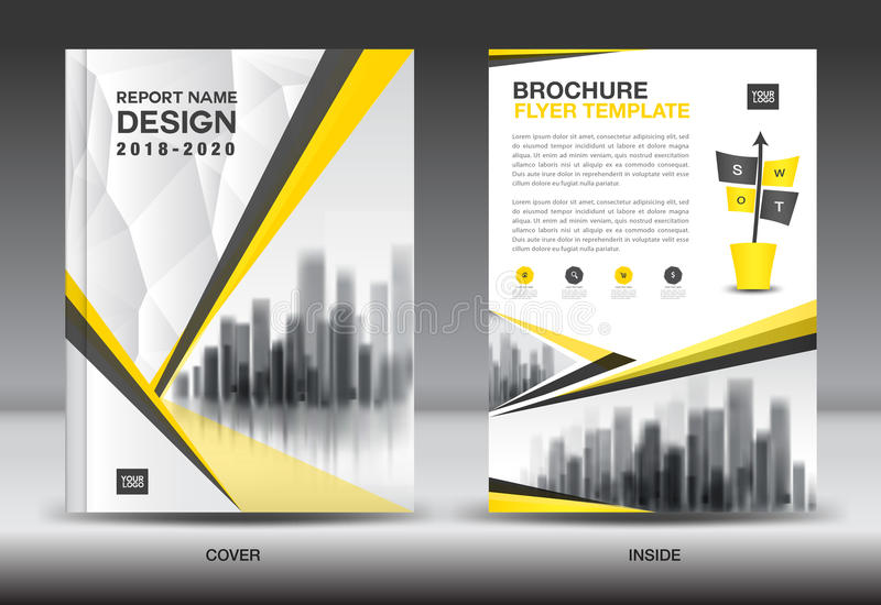 Annual report brochure flyer template, Yellow cover design. Business advertisement, magazine ads, catalog, book, infographics element vector layout in A4 size stock illustration
