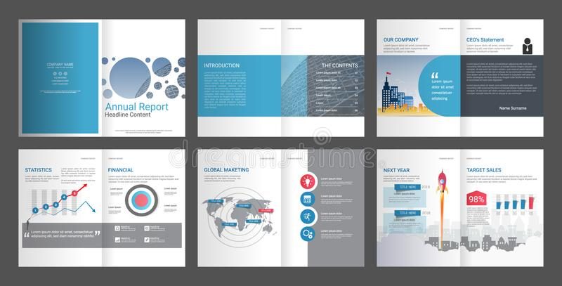 Annual Report, Company Profile, Agency Brochure, Multipurpose presentation template. vector illustration
