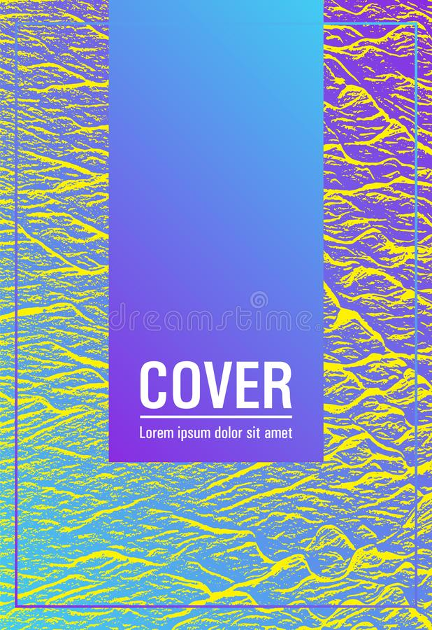 Annual report cover design. Violet blue yellow arthouse effect texture. Buzzing flux ripple movement background. Company strategy book cover. Vector template stock illustration