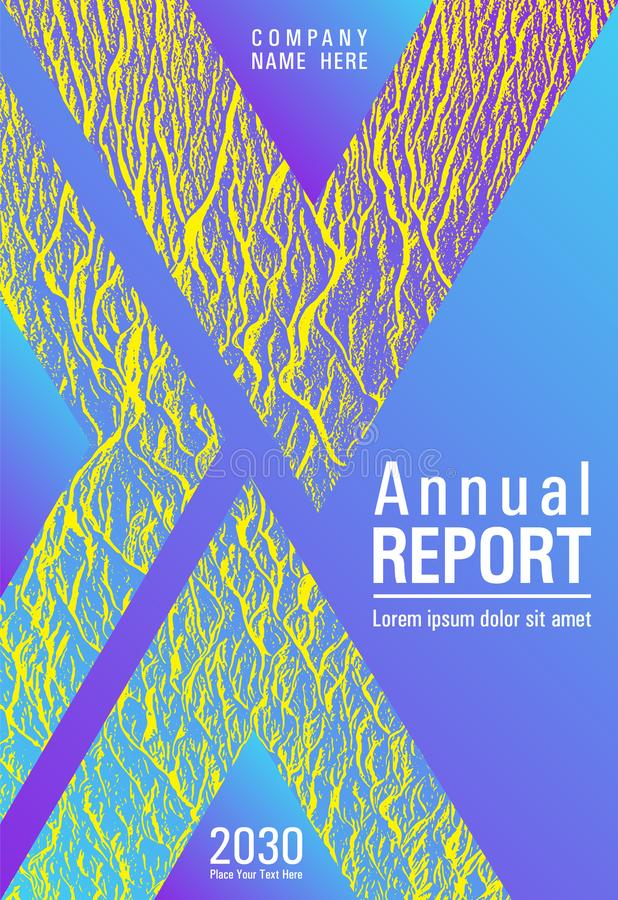 Annual report cover design. Violet blue yellow arthouse effect texture. Flat geometric cover leaflet. Vector template for corporate annual report. Buzzing royalty free illustration