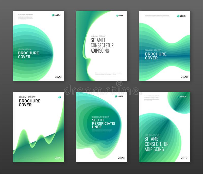 Annual report cover design templates set for business vector illustration
