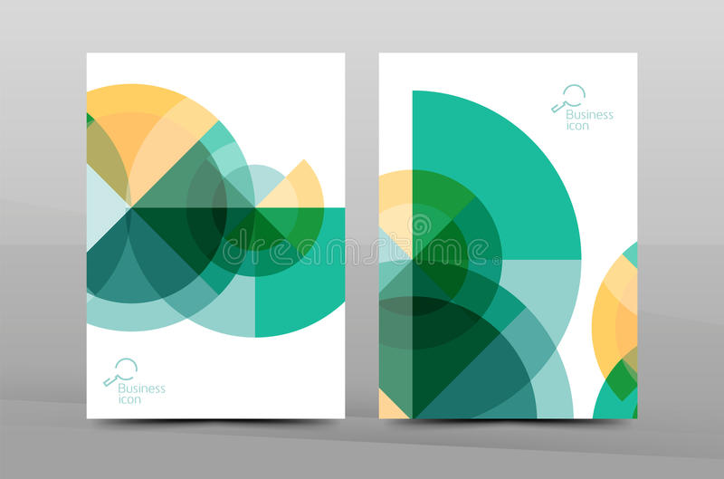 Annual report cover, geometric design. Brochure template of annual report cover, vector business flyer layout, geometric abstract poster, A4 size royalty free illustration