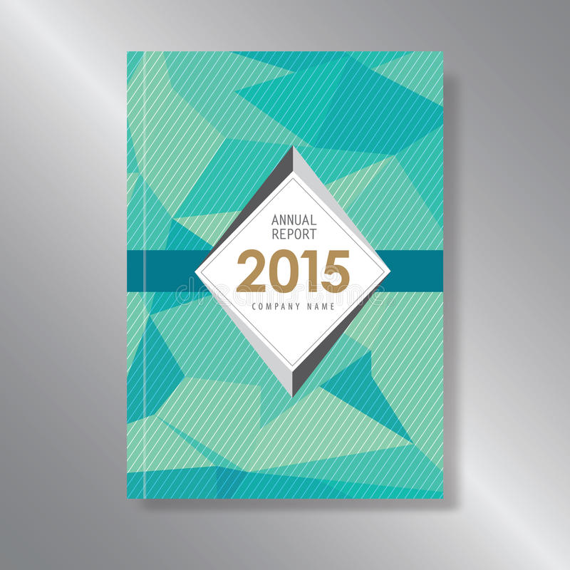 Annual report cover triagle abstract triangle stripe shape. Green stock illustration
