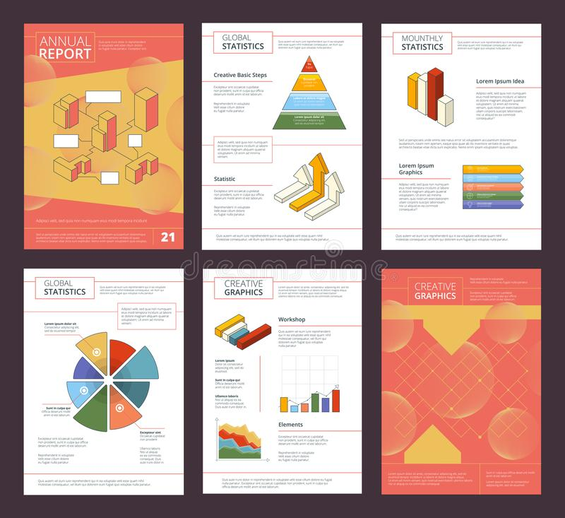 Annual report design. Business buklet pages layout with abstract shapes vector advertisement project royalty free illustration