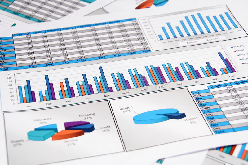 Annual Report of Outgoings and Incomings. In Graphs and Charts royalty free stock image