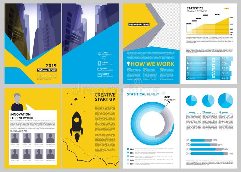 Annual report pages. Modern brochure layout with abstract shapes and place for text vector business presentation royalty free illustration