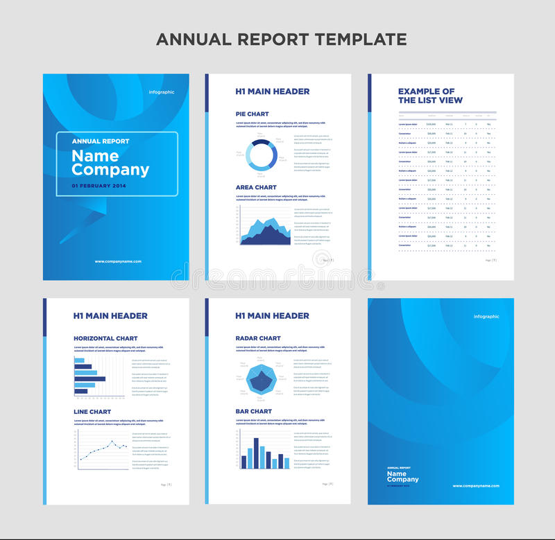 Annual report template with cover design and infographic. Modern annual report template with cover design and infographic royalty free illustration