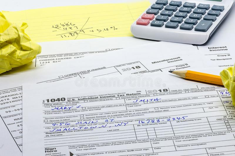 The annual task of preparing the tax return stock photo