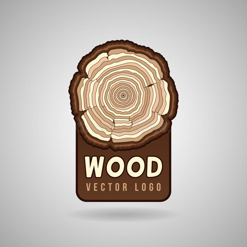 Annual tree growth rings, trunk cross section hipster vector logo template. Annual tree growth rings, trunk cross section in vector logo template. Tree in a cut royalty free illustration