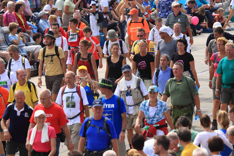 An annually recurring large walking event. The four-day hiked in the Netherlands, by people of 71 different nationalities. Annually, about five thousand soldiers royalty free stock image