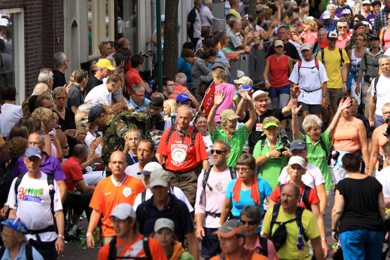 An annually recurring large walking event. The four-day hiked in the Netherlands, by people of 71 different nationalities. Annually, about five thousand soldiers royalty free stock photography
