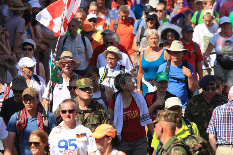 An annually recurring large walking event,. Where several nationalities take part in the Netherlands stock photography