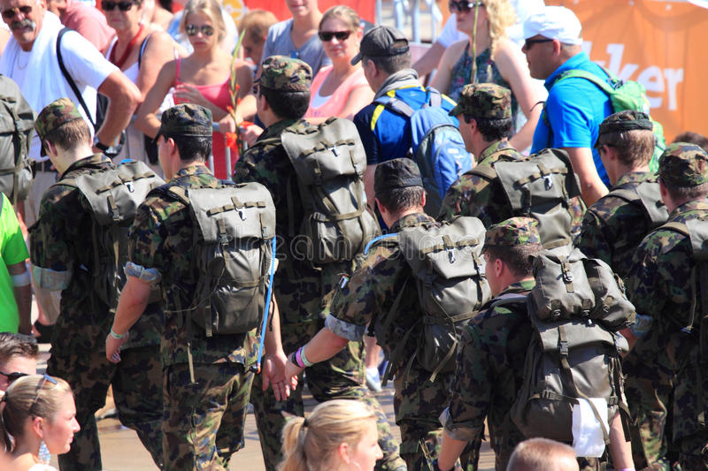 An annually recurring large walking event,. Where several nationalities take part in the Netherlands stock images