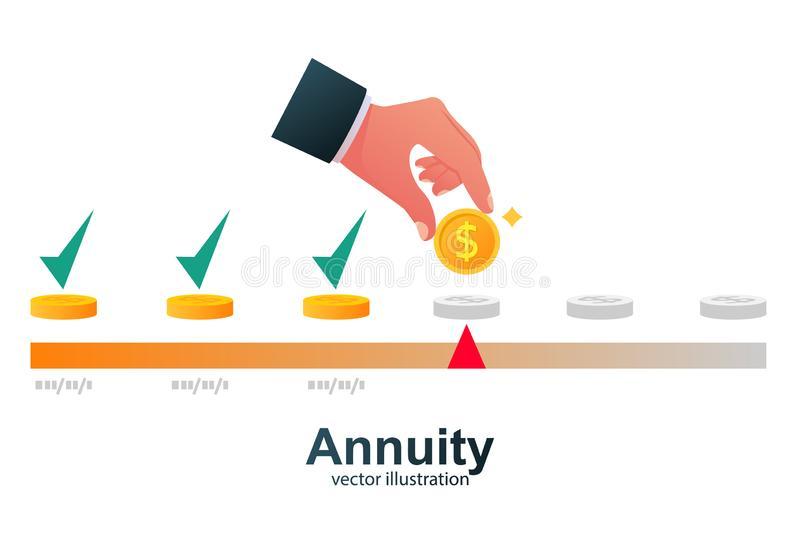 Annuity concept. Person makes the payment. stock illustration