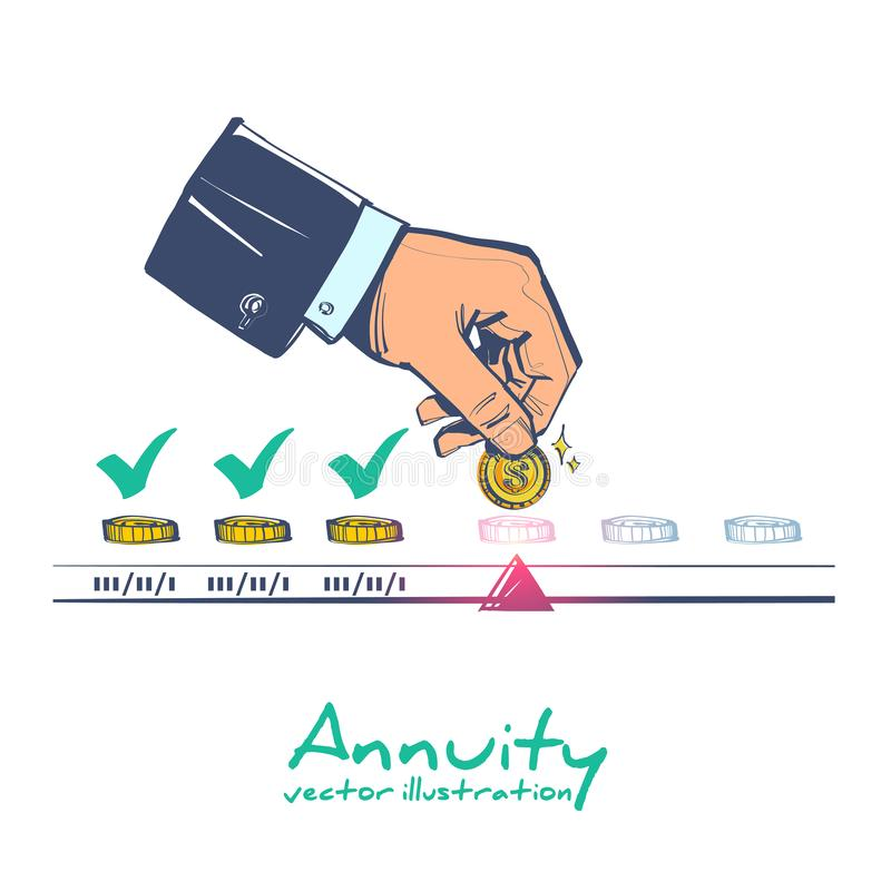 Annuity concept. Person makes the payment vector stock illustration