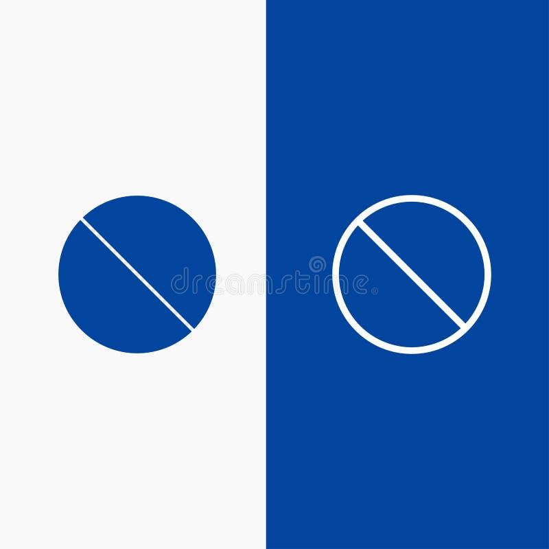 Annulation, bannière bleue de bannière non interdite, non, icône solide interdite de ligne et de Glyph d'icône solide bleue de li illustration de vecteur