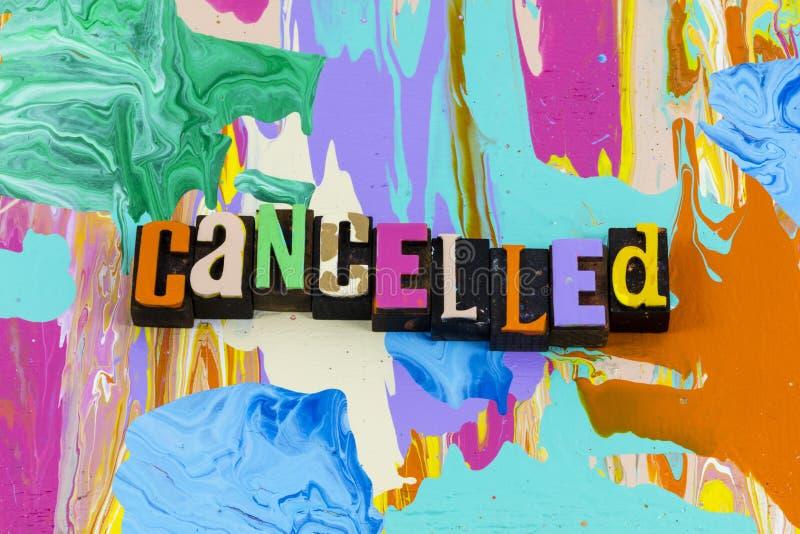 Annulation de l'annulation de l'arrêt de la suspension de la suppression de la censure expirée images stock