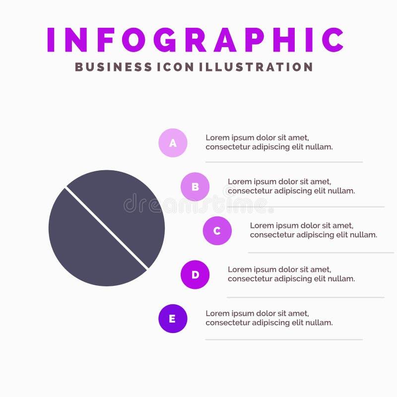 Annulation, interdite, non, fond solide interdit de présentation d'étapes d'Infographics 5 d'icône illustration stock