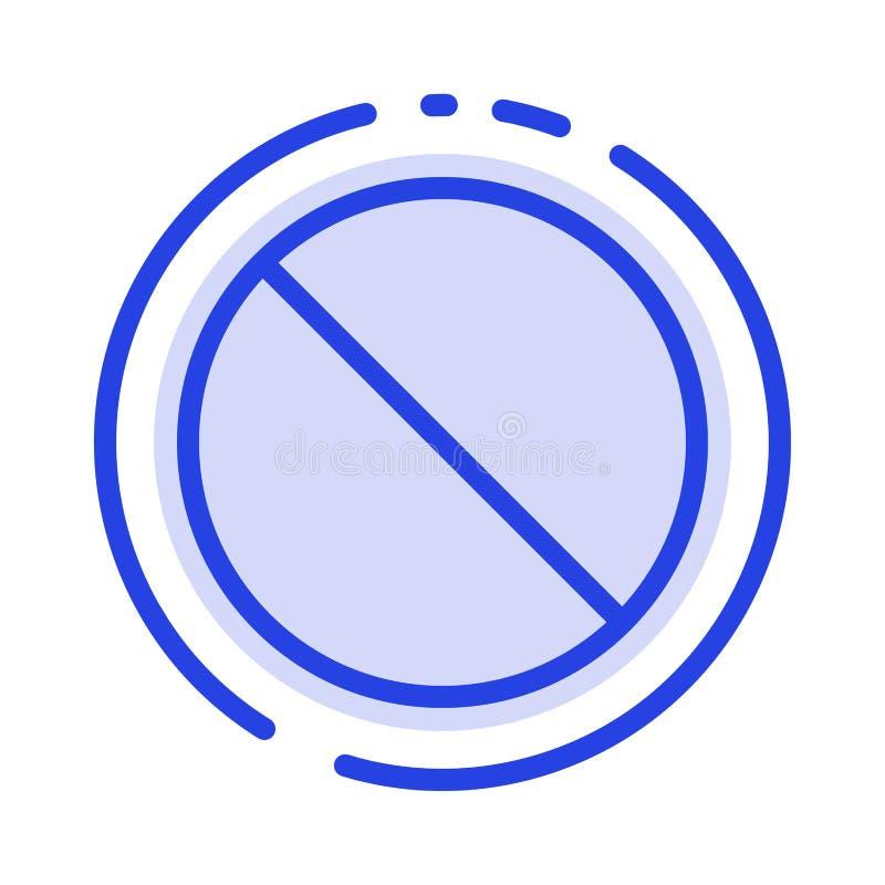 Annulation, interdite, non, ligne pointillée bleue interdite ligne icône illustration de vecteur