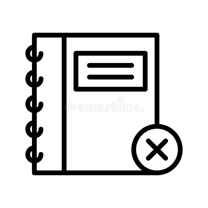 Annuleer vectorpictogram van de notitieboekje het dunne lijn stock illustratie