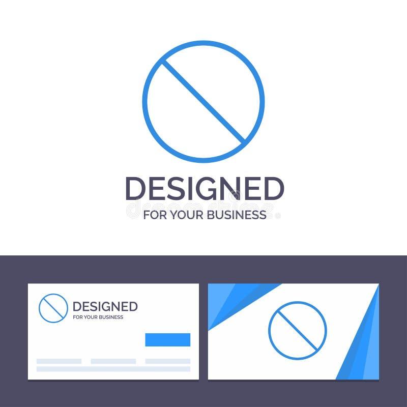 Annullering för idérik mall för affärskort som och logoförbjudas, inget, förbjuden vektorillustration royaltyfri illustrationer