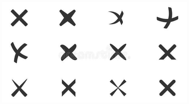 Annullering kors, radering, borttagningssymbolsuppsättning vektor illustrationer