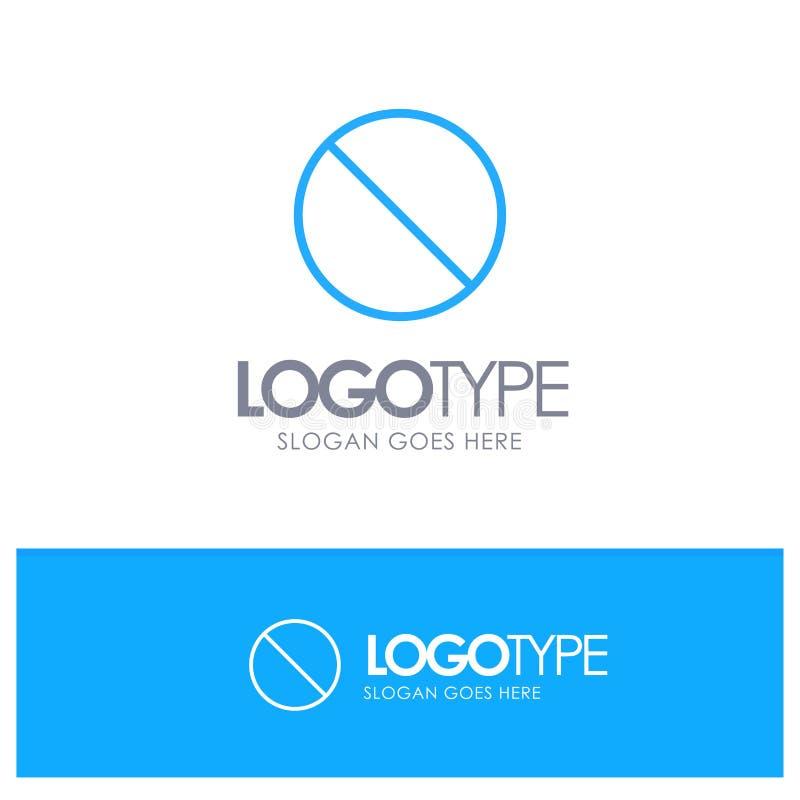 Annullering som är förbjuden, inte, förbjuden blå översikt Logo Place för Tagline stock illustrationer