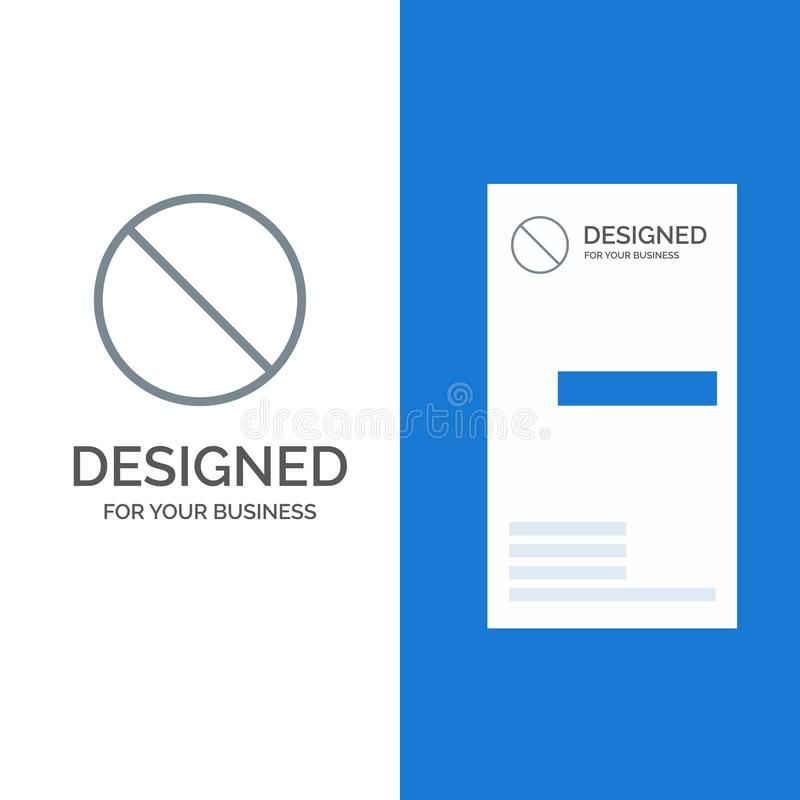 Annullering som är förbjuden, inte, förbjudna Grey Logo Design och mall för affärskort stock illustrationer