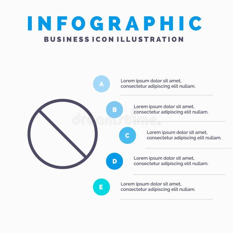 Annullering som är förbjuden, inte, förbjuden linje symbol med för presentationsinfographics för 5 moment bakgrund stock illustrationer