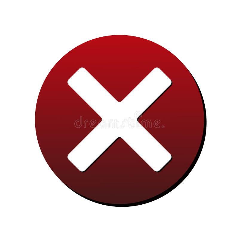 AnnulleringsX-kors rund symbol Vektorillustrationstil är framlänges iconic bicolor vita och intensiva röda färger för symbol som, royaltyfri illustrationer