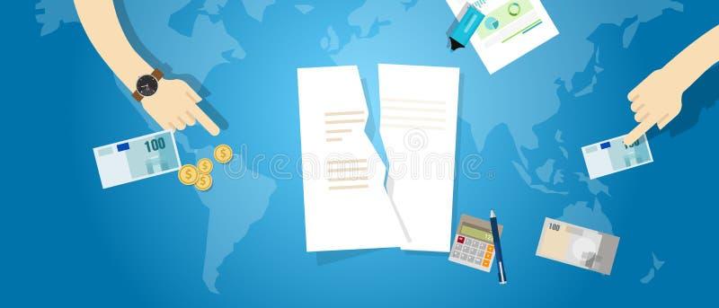 Annullieren Sie Partnerschaftsvereinbarungsrissvertrages TPP Papierdokument des transpazifischen vektor abbildung