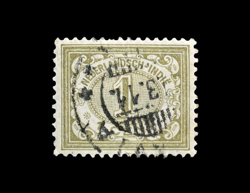 Annullierte Briefmarke gedruckt durch die Niederlande stockbild