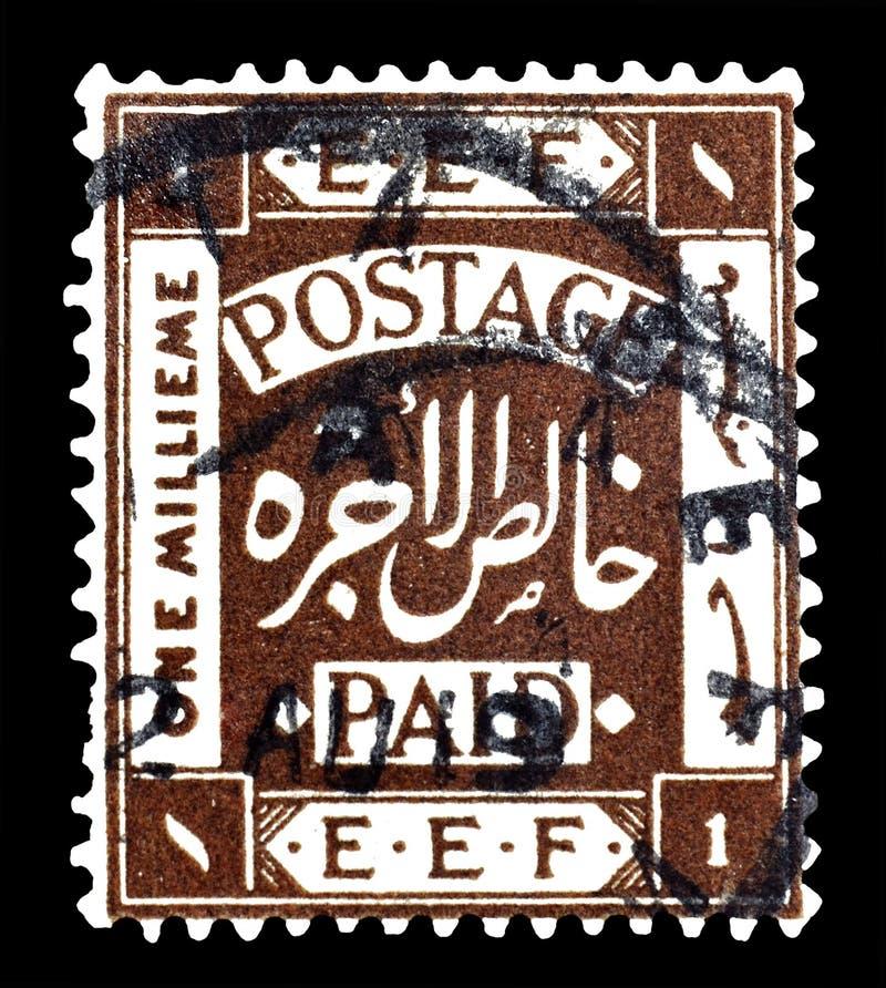 Annullierte Briefmarke gedruckt durch Palästina stockfotografie