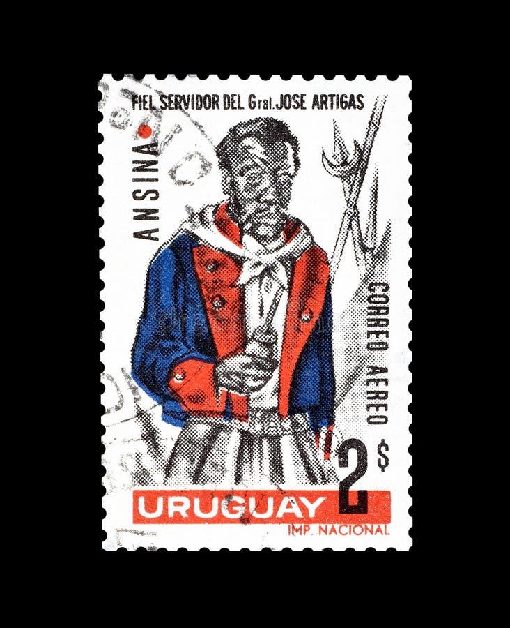 Annullierte Briefmarke gedruckt durch Uruguay lizenzfreie stockfotos