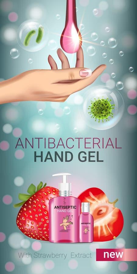 Annunci antibatterici del gel della mano di sapore della fragola Vector l'illustrazione con il gel antisettico della mano in bott illustrazione di stock