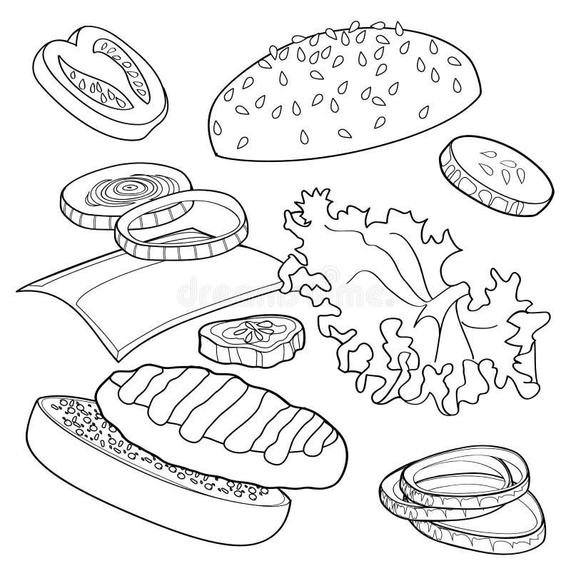 Annunci in bianco e nero dell'hamburger sopra la qualsiasi BG immagini stock