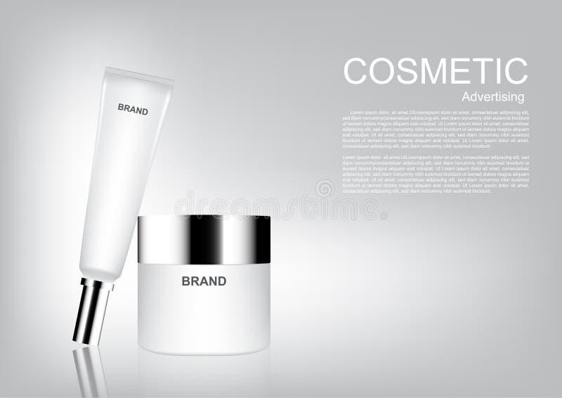 Annunci cosmetici di bellezza, prodotti cosmetici bianchi su fondo bianco immagine stock