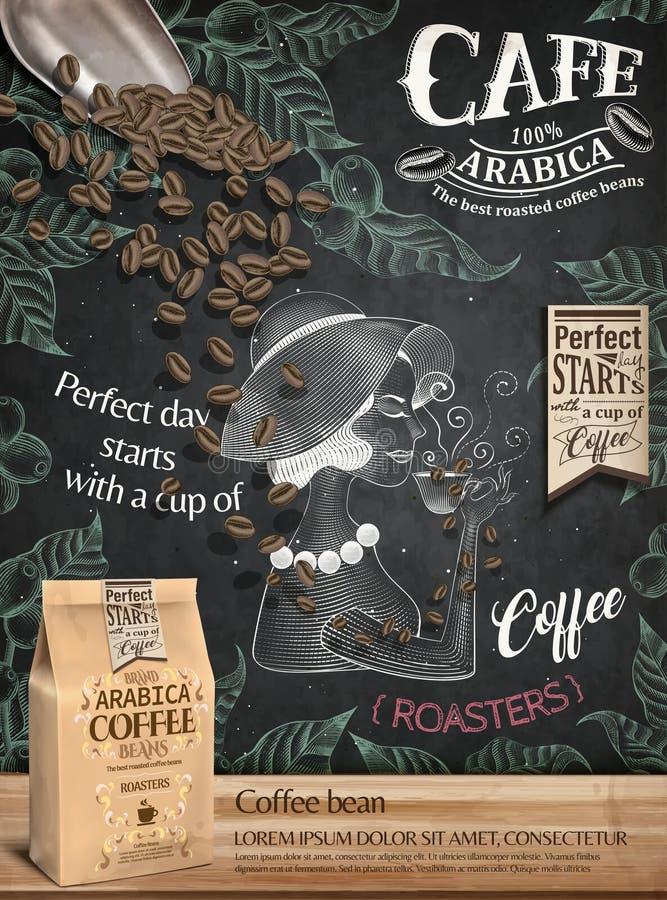 Annunci del chicco di caffè illustrazione vettoriale