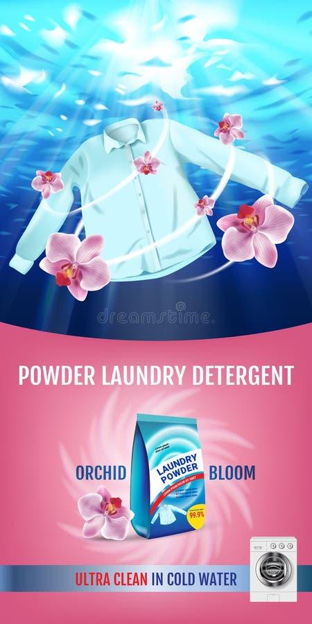 Annunci del detersivo di lavanderia di fragranza dell'orchidea L'illustrazione realistica di vettore con la camicia è lavata in a royalty illustrazione gratis