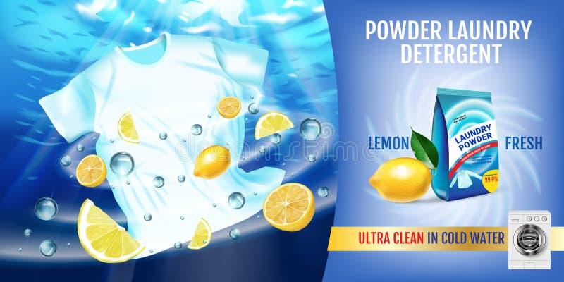 Annunci del detersivo di lavanderia di fragranza del limone L'illustrazione realistica di vettore con la maglietta è lavata in ac royalty illustrazione gratis