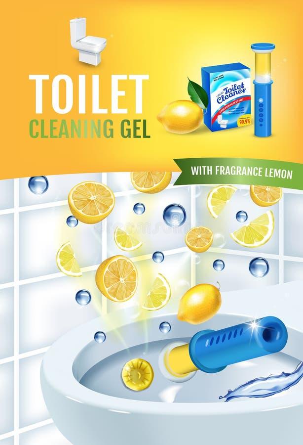 Annunci del disco del gel del pulitore della toilette di fragranza dell'agrume Vector l'illustrazione realistica con i dischi del illustrazione di stock