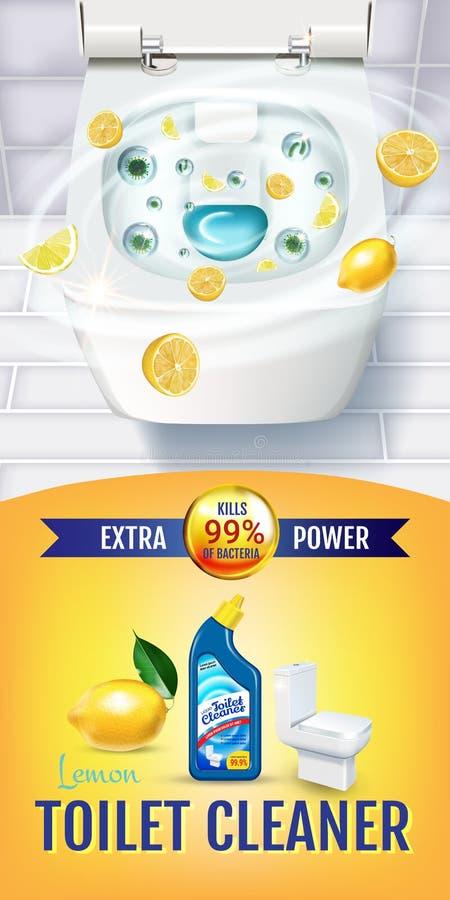 Annunci del gel del pulitore della toilette di fragranza dell'agrume Vector l'illustrazione realistica con la vista superiore del illustrazione di stock