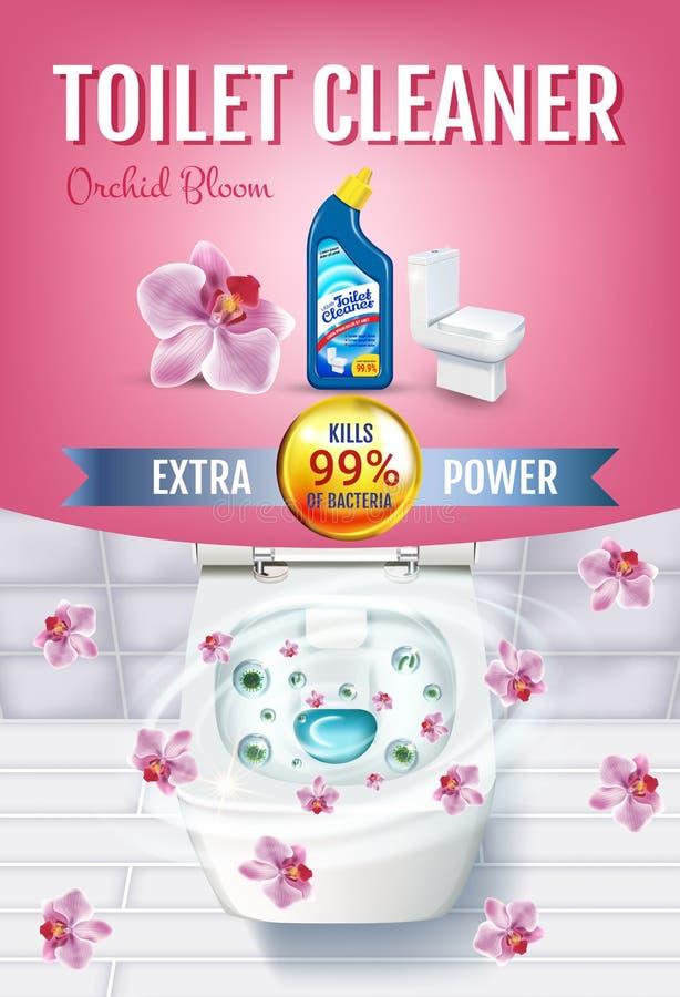 Annunci del gel del pulitore della toilette di fragranza dell'orchidea Vector l'illustrazione realistica con la vista superiore d illustrazione di stock