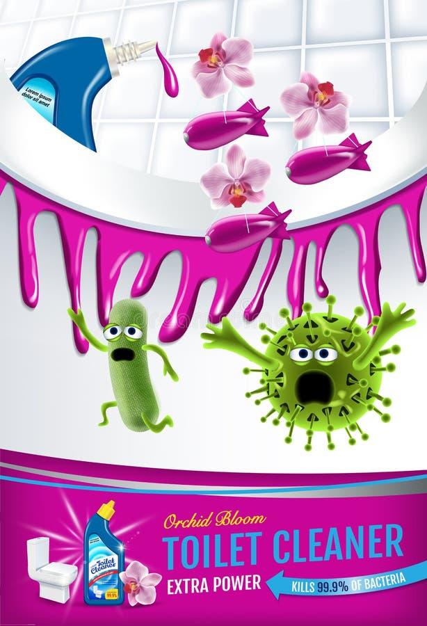 Annunci del pulitore della toilette di fragranza dell'orchidea Germi più puliti di uccisione dei pesi dentro la ciotola di toilet illustrazione vettoriale