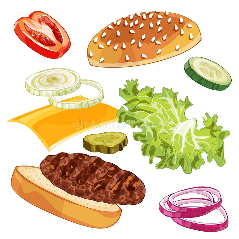 Annunci dell'hamburger del colorfull di vettore sopra qualsiasi fondo fotografia stock libera da diritti
